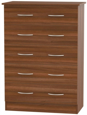 Avon Noche Walnut Chest of Drawer - 5 Drawer