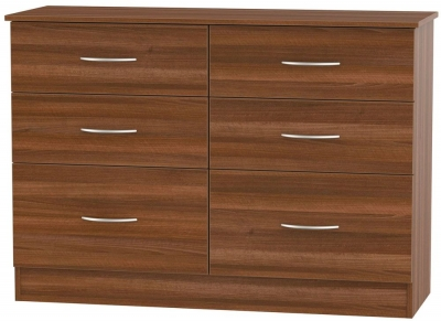 Avon Noche Walnut Chest of Drawer - 6 Drawer Midi