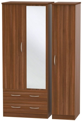 Avon Noche Walnut Triple Wardrobe - 2 Drawer with Mirror