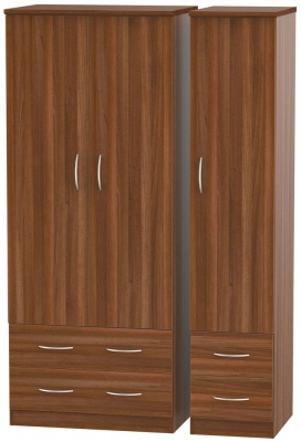 Avon Noche Walnut Triple Wardrobe with Drawer