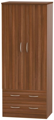 Avon Noche Walnut 2 Door 2 Drawer Wardrobe