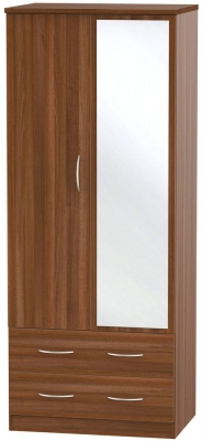 Avon Noche Walnut 2 Door 2 Drawer Mirror Wardrobe