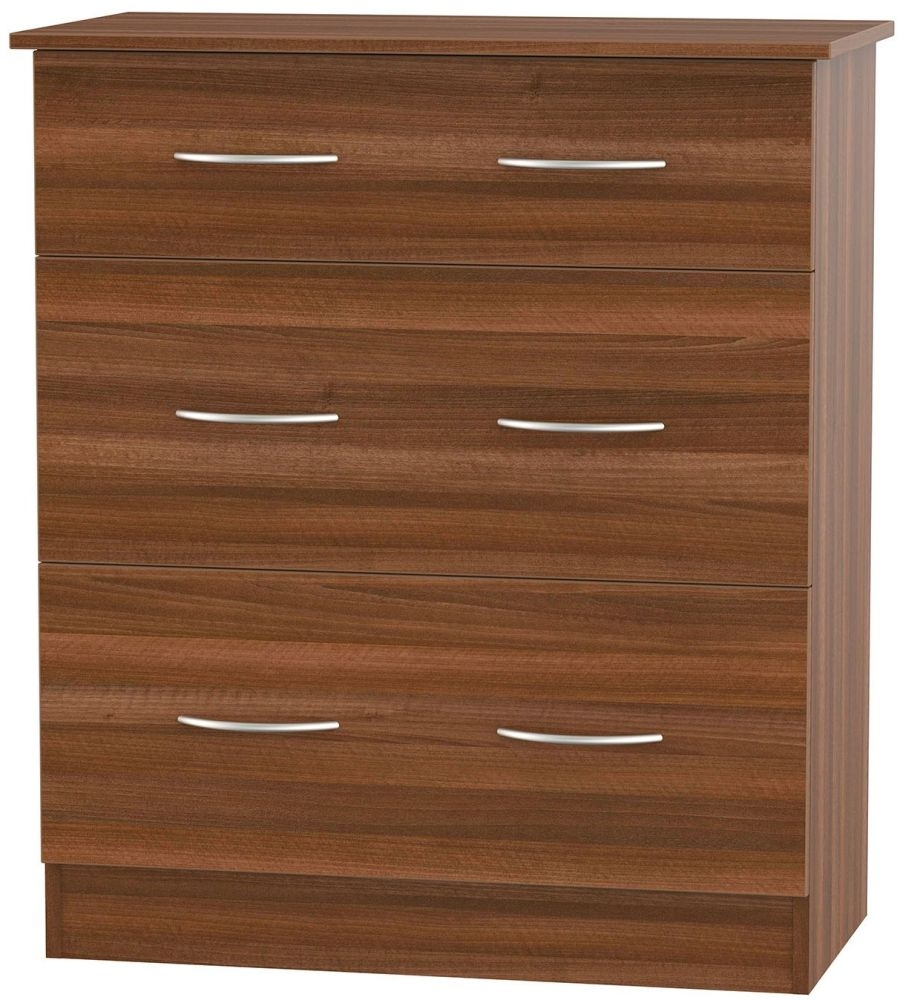 Avon Noche Walnut 3 Drawer Deep Chest