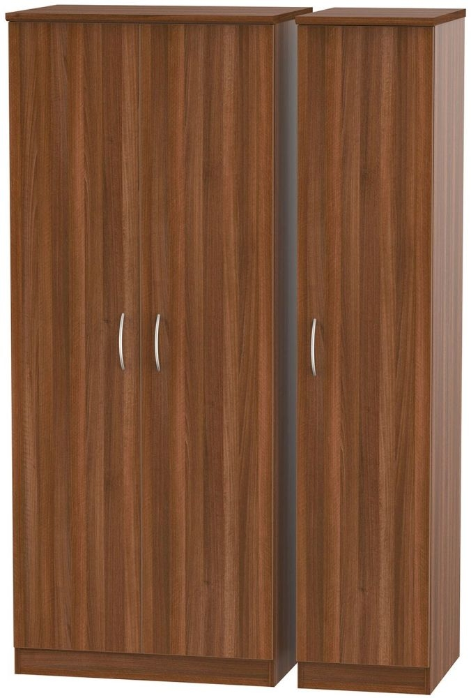 Avon Noche Walnut 3 Door Plain Triple Wardrobe