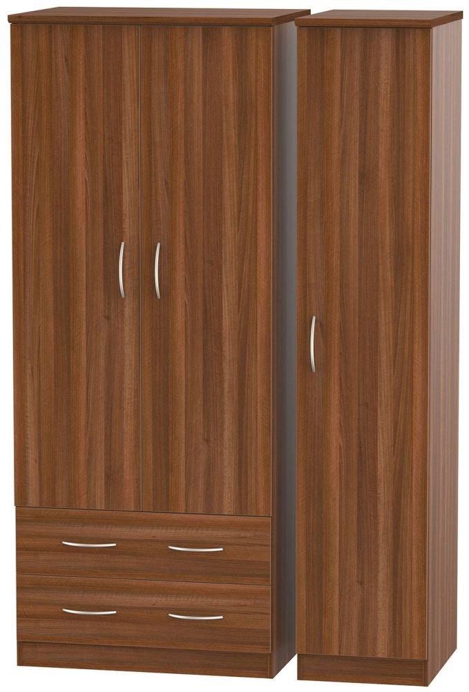 Avon Noche Walnut 3 Door 2 Left Drawer Triple Wardrobe
