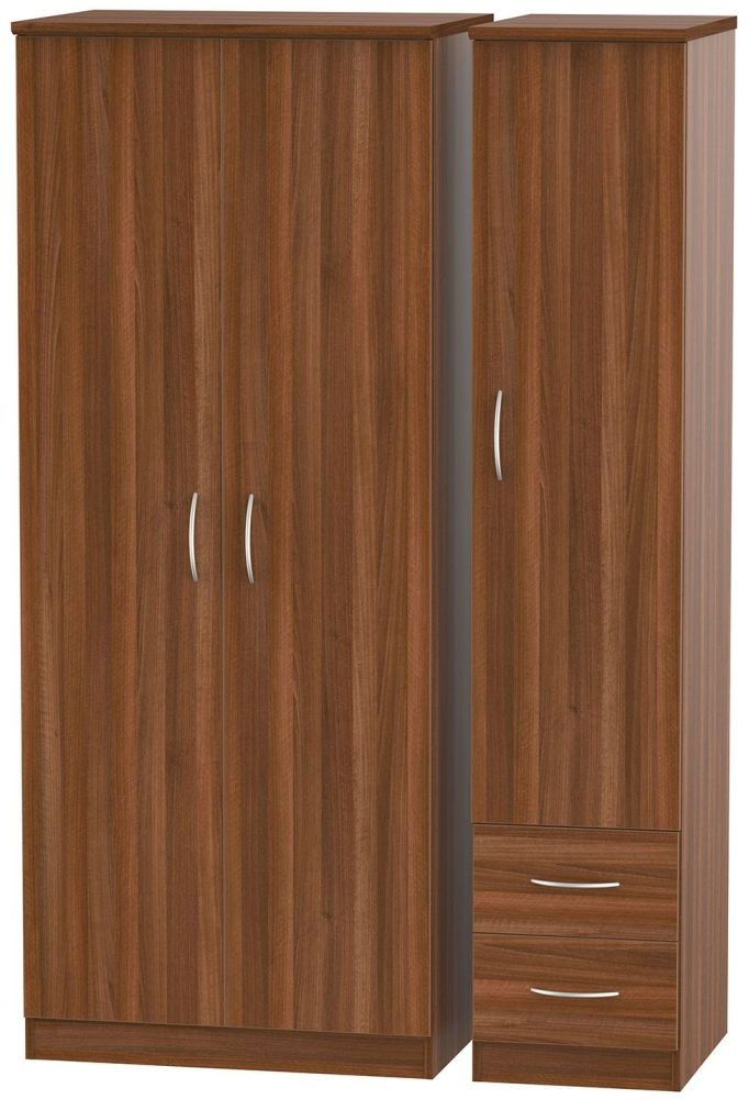 Avon Noche Walnut Triple Wardrobe with 2 Drawer