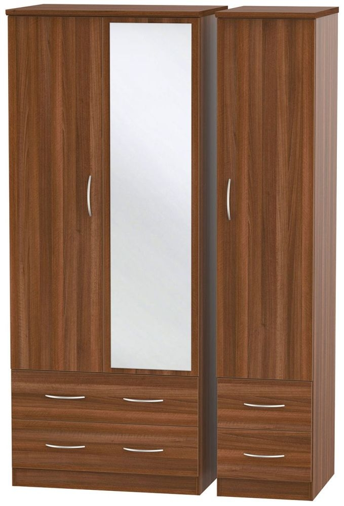 Avon Noche Walnut 3 Door 4 Drawer Mirror Wardrobe
