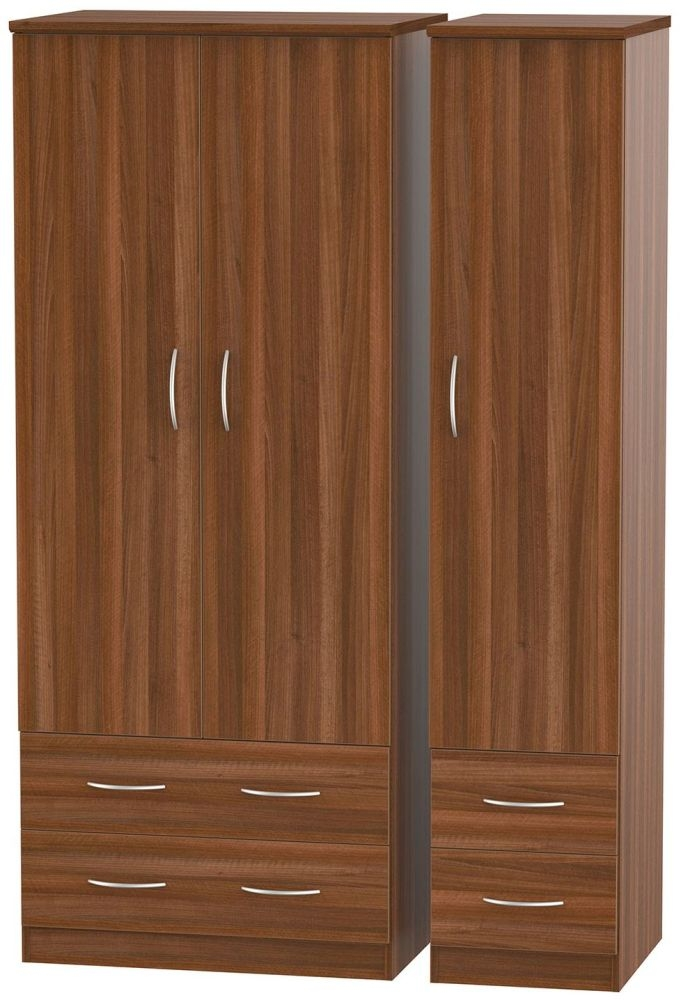 Avon Noche Walnut 3 Door 4 Drawer Triple Wardrobe