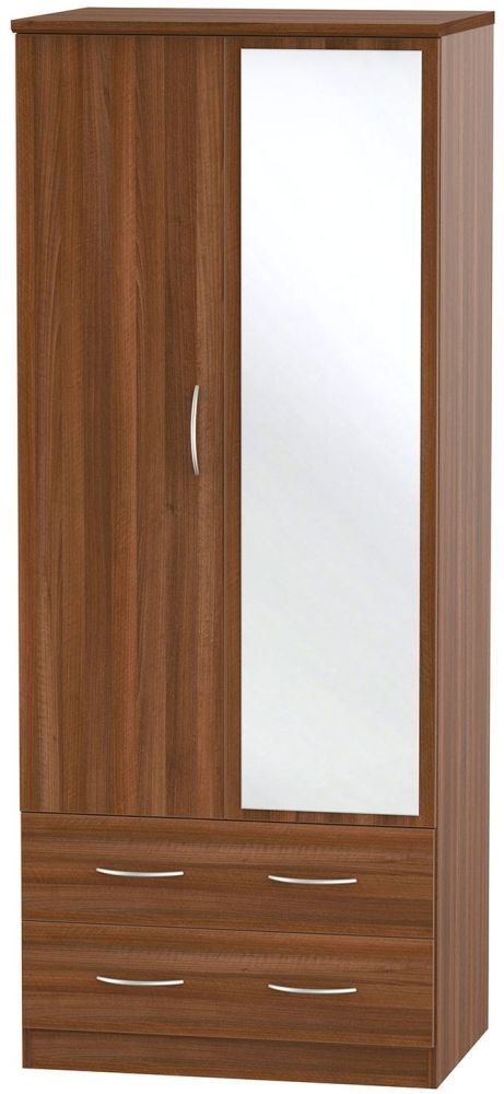 Avon Noche Walnut Wardrobe - 2ft 6in with 2 Drawer and Mirror