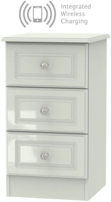 Balmoral High Gloss Kaschmir 3 Drawer Bedside Cabinet with Integrated Wireless Charging
