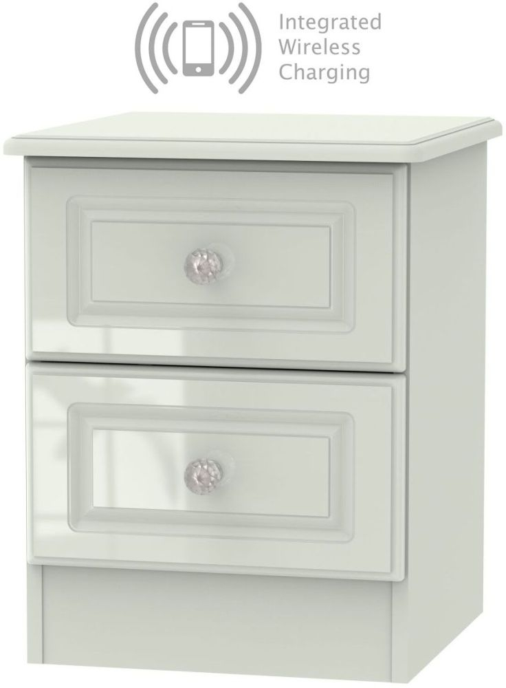 Balmoral High Gloss Kaschmir 2 Drawer Bedside Cabinet with Integrated Wireless Charging