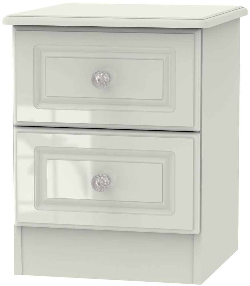 Balmoral High Gloss Kaschmir 2 Drawer Locker Bedside Cabinet