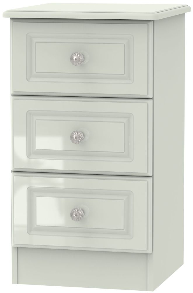 Balmoral High Gloss Kaschmir 3 Drawer Bedside Cabinet