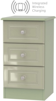 Balmoral High Gloss Mushroom 3 Drawer Bedside Cabinet with Integrated Wireless Charging