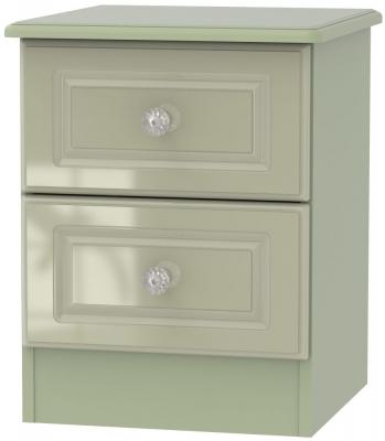 Balmoral High Gloss Mushroom 2 Drawer Bedside Cabinet