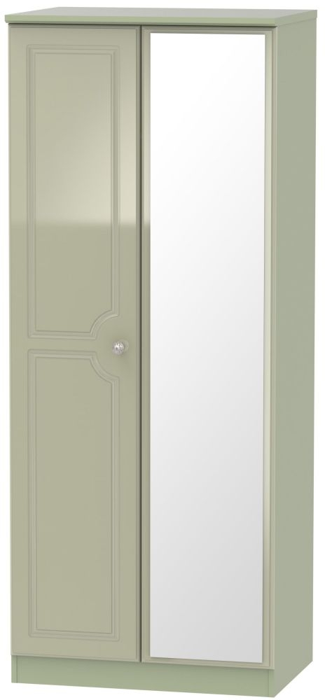 Balmoral High Gloss Mushroom 2 Door Mirror Wardrobe