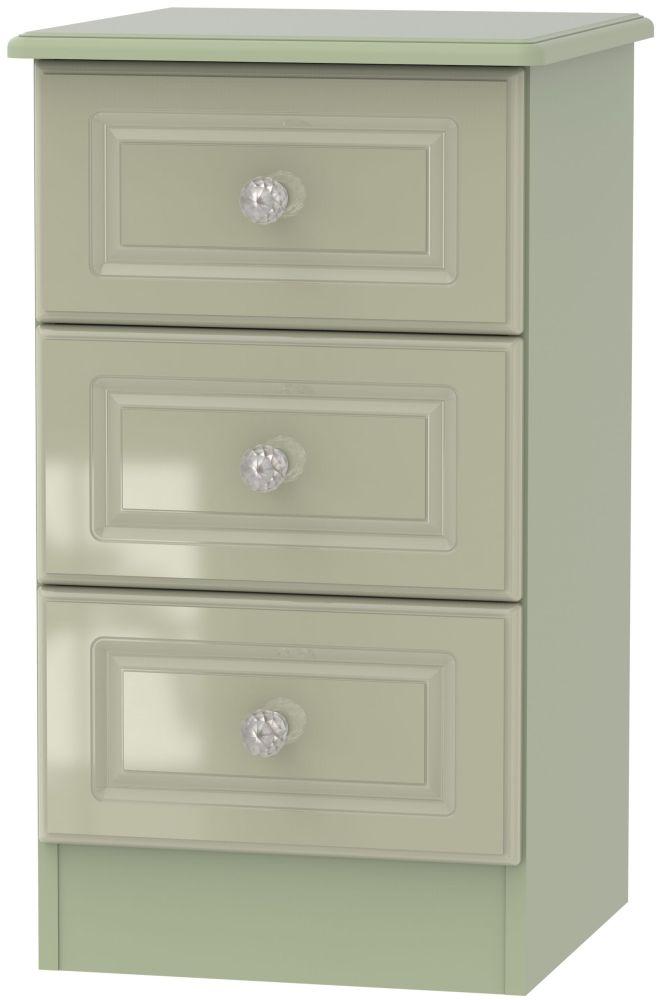 Balmoral High Gloss Mushroom 3 Drawer Bedside Cabinet