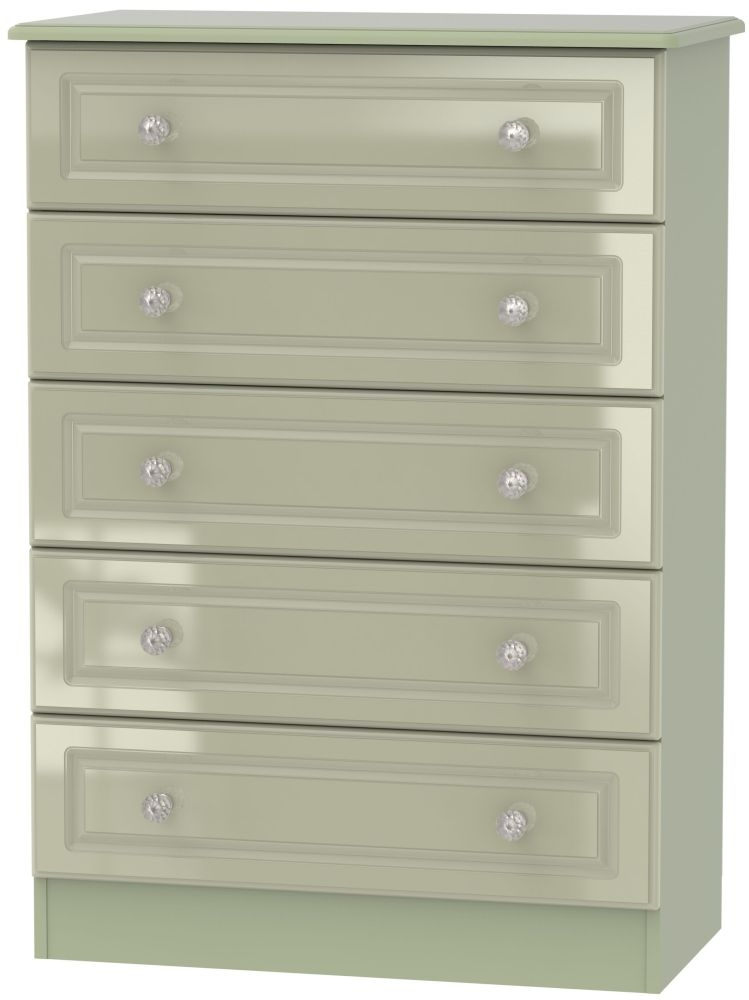 Balmoral High Gloss Mushroom 5 Drawer Chest