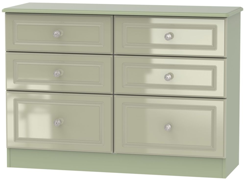 Balmoral High Gloss Mushroom 6 Drawer Midi Chest