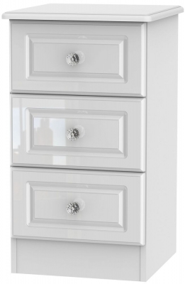 Balmoral High Gloss White 3 Drawer Bedside Cabinet
