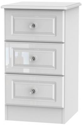 Balmoral High Gloss White 3 Drawer Bedside Cabinet