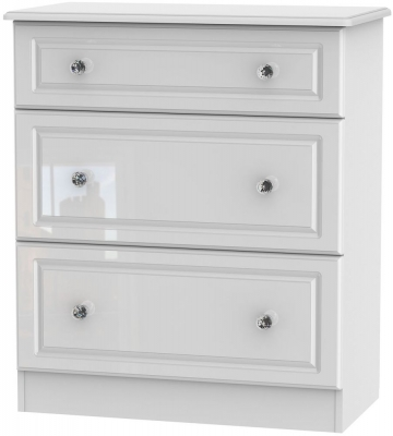 Balmoral High Gloss White 3 Drawer Deep Chest