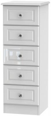 Balmoral High Gloss White 5 Drawer Tall Chest