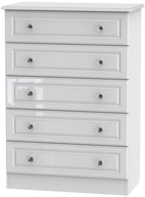 Balmoral High Gloss White 5 Drawer Chest
