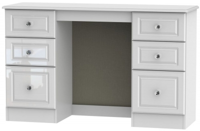 Balmoral High Gloss White Double Pedestal Dressing Table