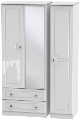 Balmoral High Gloss White 3 Door 2 Left Drawer Combi Wardrobe