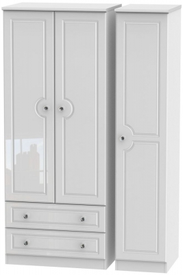Balmoral High Gloss White 3 Door 2 Left Drawer Wardrobe
