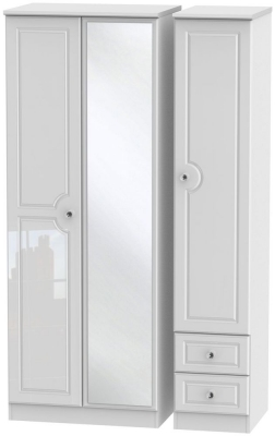 Balmoral High Gloss White 3 Door 2 Right Drawer Tall Combi Wardrobe