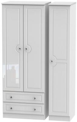 Balmoral High Gloss White 3 Door 2 Left Drawer Tall Wardrobe