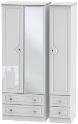 Balmoral High Gloss White 3 Door 4 Drawer Tall Mirror Wardrobe