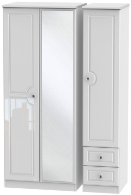 Balmoral High Gloss White 3 Door 2 Right Drawer Combi Wardrobe