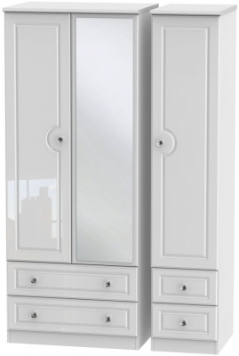 Balmoral High Gloss White 3 Door 4 Drawer Mirror Wardrobe
