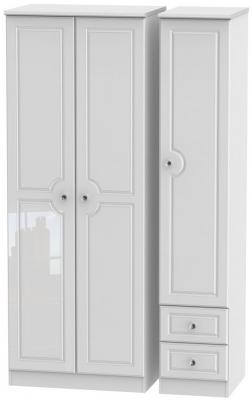 Balmoral High Gloss White 3 Door 2 Right Drawer Tall Wardrobe
