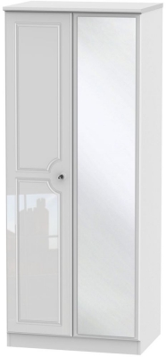 Balmoral High Gloss White 2 Door Mirror Wardrobe