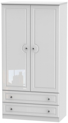 Balmoral High Gloss White 2 Door 2 Drawer 3ft Wardrobe