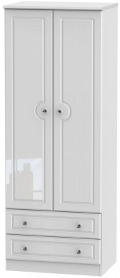 Balmoral High Gloss White 2 Door 2 Drawer Tall Wardrobe
