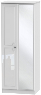 Balmoral High Gloss White 2 Door Tall Mirror Wardrobe