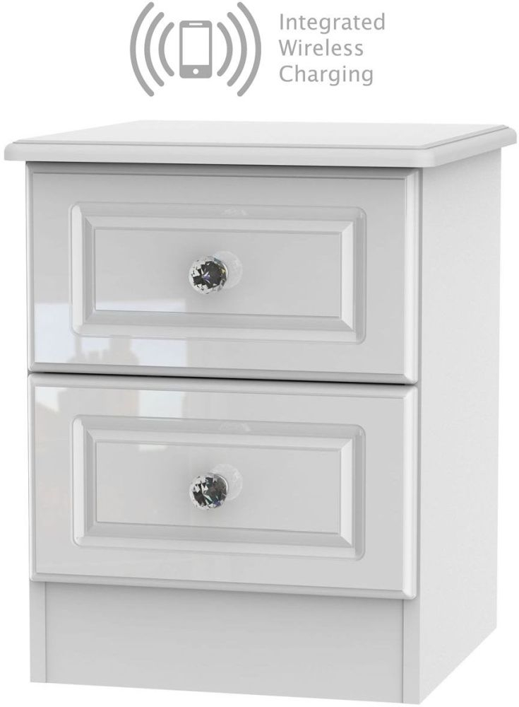 Balmoral High Gloss White 2 Drawer Bedside Cabinet with Integrated Wireless Charging