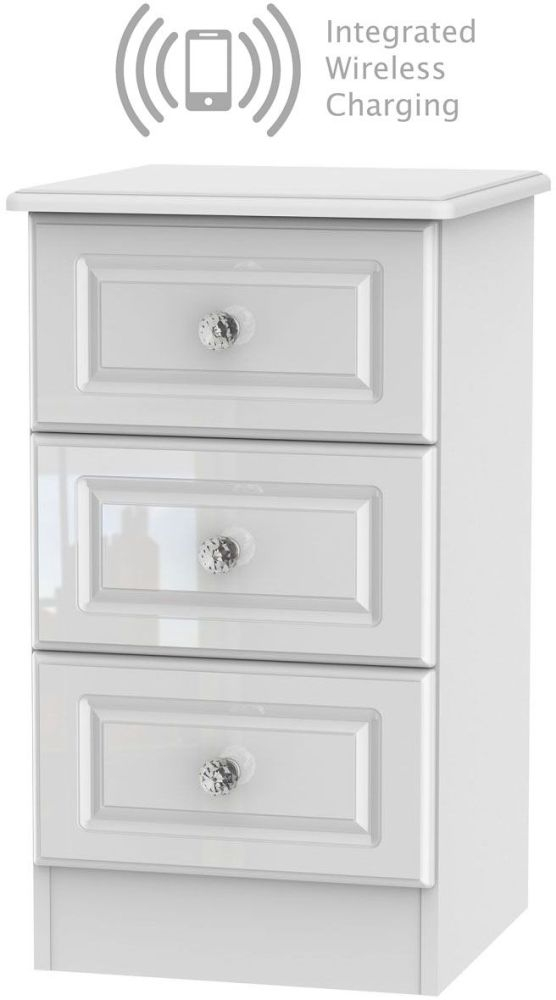 Balmoral High Gloss White 3 Drawer Bedside Cabinet with Integrated Wireless Charging