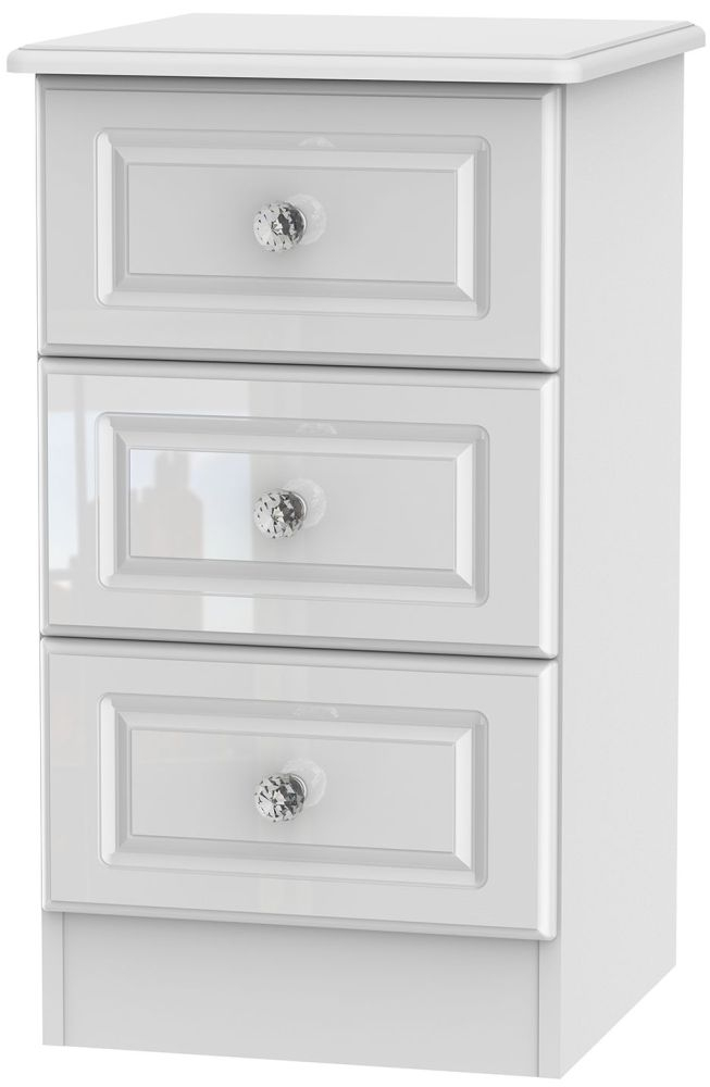 Balmoral High Gloss White 3 Drawer Locker Bedside Cabinet