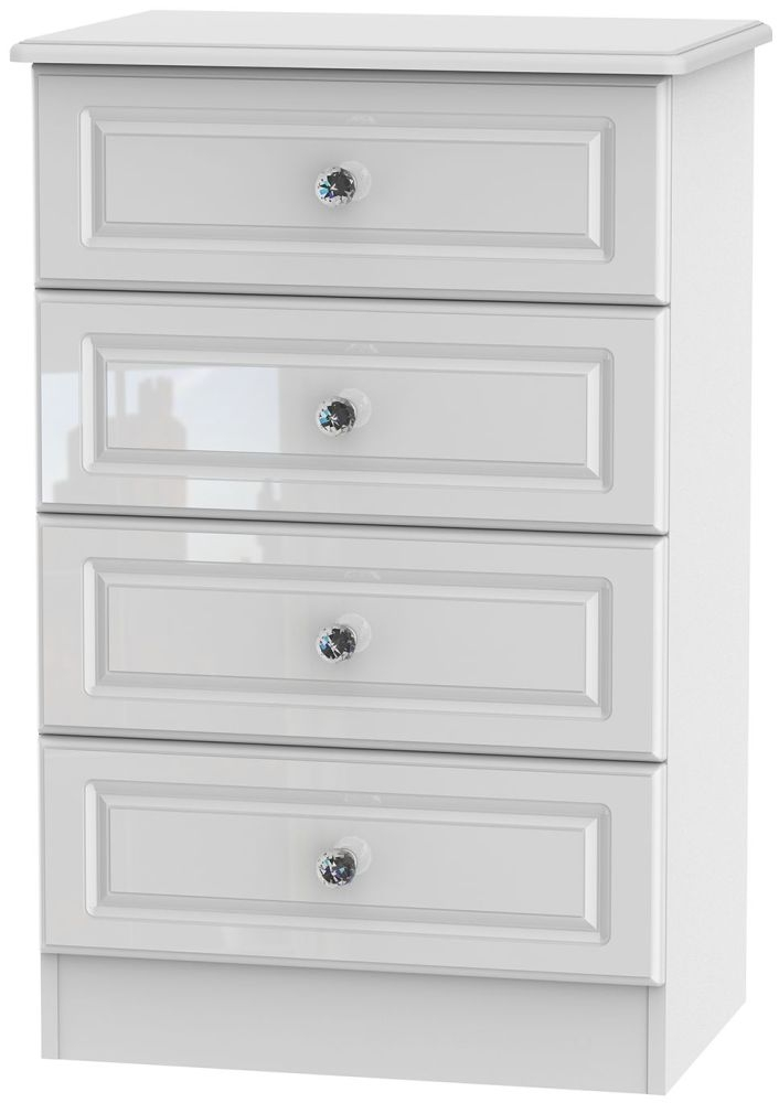 Balmoral High Gloss White 4 Drawer Midi Chest