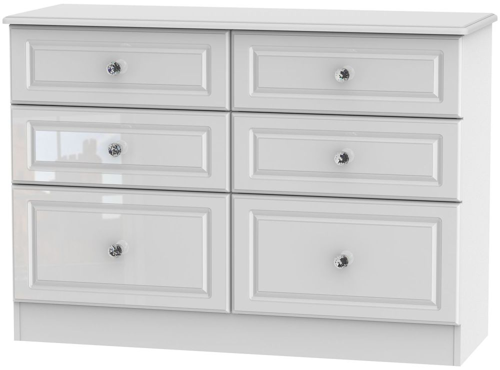 Balmoral High Gloss White 6 Drawer Midi Chest