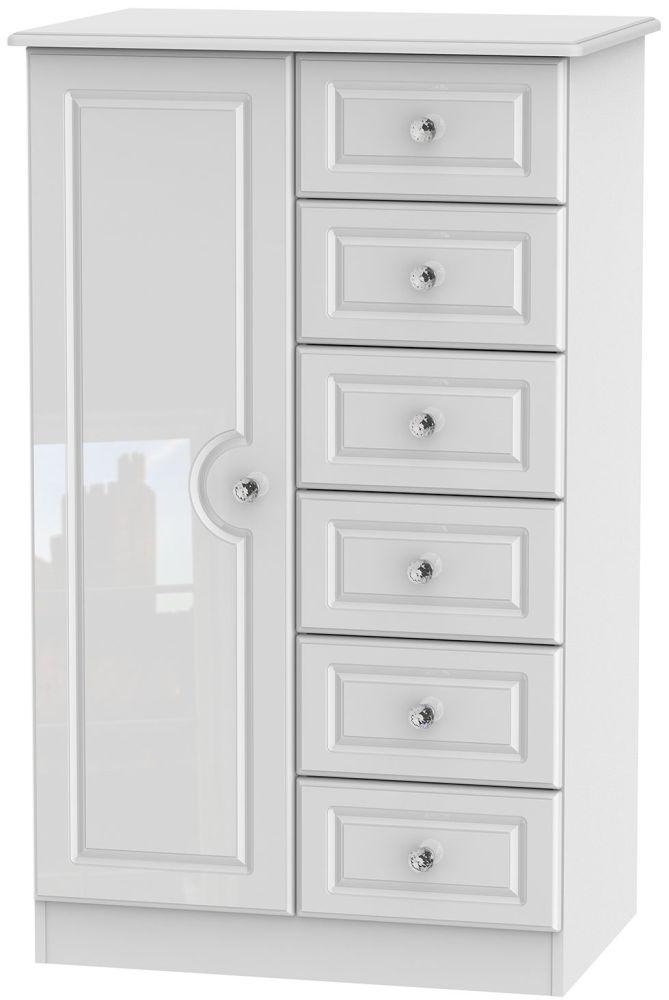 Balmoral High Gloss White 1 Door 6 Drawer Children Wardrobe
