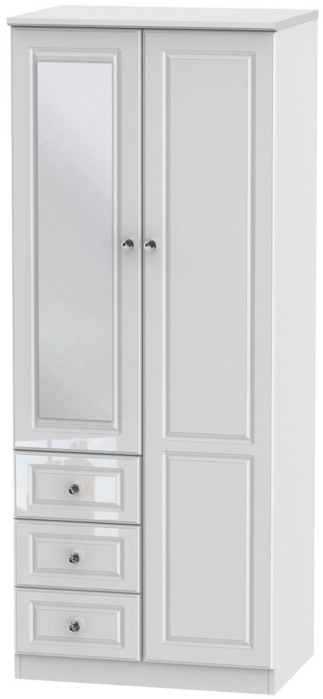 Balmoral High Gloss White 2 Door 3 Drawer Combination Wardrobe