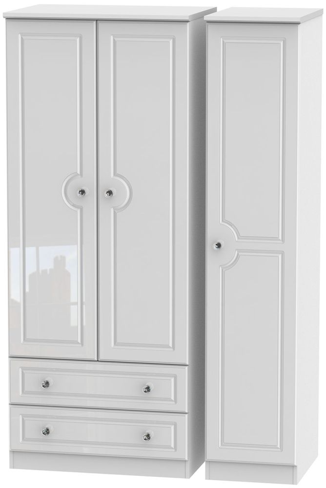 Balmoral High Gloss White 3 Door 2 Drawer Triple Wardrobe