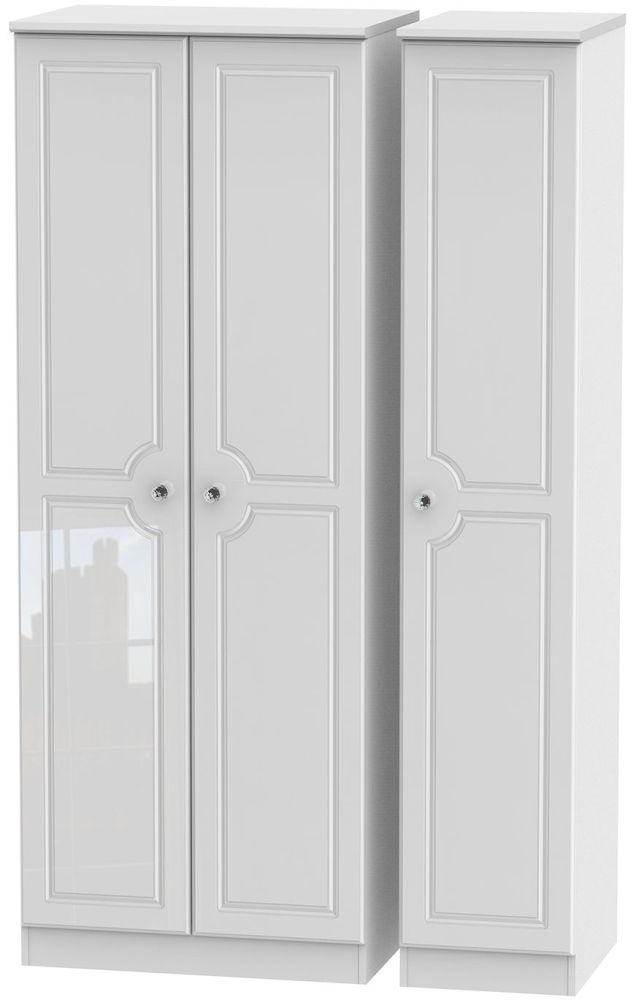 Balmoral High Gloss White 3 Door Tall Wardrobe